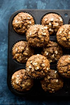 Whole wheat and healthy without lacking flavor or moisture! These delicious whole wheat banana nut muffins are made without refined sugar. Recipe on sallysbakingaddiction.com