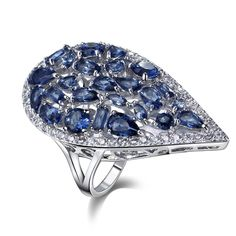 Big Water Drop Shape Ring - Rhodium Plated   Gift