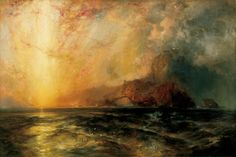 """Fiercely the red sun descending / burned his way along the heavens"" Thomas Moran, 1875"