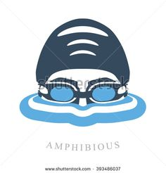 Premium logo labels swimmer's head with glasses and cap for swimming on the water surface with waves