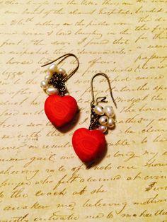 Heartbeat earrings. White fresh water pearls dangle by GemJelly