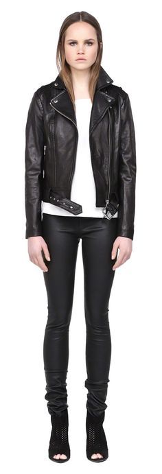 MACKAGE FLORICA-S5 BLACK SPRING LEATHER MOTO BIKER JACKET FOR WOMEN