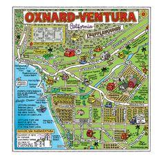 Ventura/Oxnard The Cartoon Map Capital of the World - Fun Maps USA Ventura County California, Oxnard California, California Dreamin', Moorpark California, Ventura Pier, Port Hueneme, San Fernando Valley, Simi Valley, Future Travel
