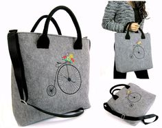 Old bike,Vintage,Women felt bag, Felt laptop bag , Grey felt  Laptop bag ,   Felt tote bag  Felt handbag  Felt shoulder bag by BPStudioDesign on Etsy
