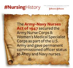 The Army-Navy #Nurses Act of 1947 secured the U.S. Army Nurse Corps and Women's Medical Specialist Corps as part of the U.S Army and gave permanent commissioned officer status to Army and Navy #nurses.
