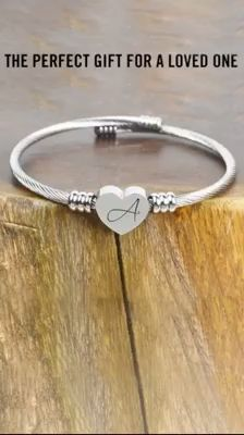 Solid Stainless-Steel Heart Initial Cable Bangle - All Letters Initial Bracelet, Heart Bracelet, Bracelets, Beaded Bracelet, Best Diamond, Rhinestone Necklace, Initial Charm, Fashion Jewelry, Mom Fashion