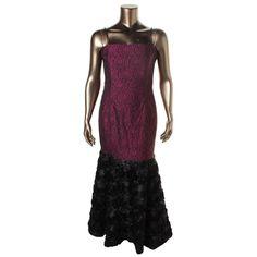 B Michael Womens Rosette Prom Evening Dress