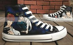 #Christmas Anime Shoes Death Note Hand Painted Shoes High-top Pai,High-top Painted Canvas Shoes