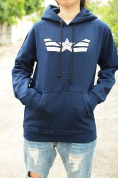 Captain America sweatshirt hoodie long sleeve by kusuriurisan