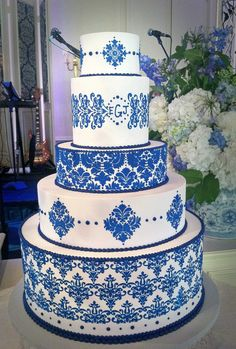 Beautiful White And Blue Wedding Cakes With Cake Toppers