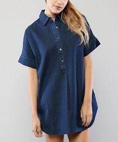 Another great find on #zulily! Dark Denim Button-Front Shirt Dress #zulilyfinds