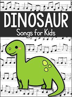 Dinosaur songs for kids: preschool, pre-k, kindergarten. Use while teaching a Dinosaur theme. Dinosaur Songs For Preschool, Dinosaur Crafts Kids, Dinosaur Classroom, Preschool Music, Preschool Themes, Preschool Lessons, Preschool Learning, Teaching, Dinosaur Dinosaur