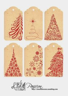 Côté Passion 6 tags Christmas 2014 Plus Christmas Labels, Noel Christmas, Christmas Gift Wrapping, All Things Christmas, Printable Christmas Gift Tags, Printable Tags, Printables, Card Tags, Gift Cards