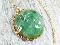 Vintage 14k Jade Necklace Vintage Natural Jade by BelmarJewelers
