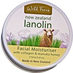 Lanolin, Manuka Honey and Collagen Facial Moisturizer by Wild Ferns. $19.50. Also contains collagen. With New Zealand Lanolin and Manuka Honey. Facial Moisturizer with Lanolin and Manuka Honey 175ml/5.91oz. A powerful moisturizer that combines two of New Zealand's best known skin care ingredients.