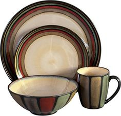 Infused with natural warmth and rustic charm, the Sango Flair Dinnerware – Black – Set of 16 will complement your traditional or modern decor. Hand-crafted of durable stoneware with an earthy taupe glaze framed in bold, sunset shades, this handsome 16-piece dinnerware set is... - http://kitchen-dining.bestselleroutlet.net/product-review-for-sango-16-piece-flair-dinnerware-set-black/