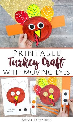 Looking for printable turkey crafts for kids to make at home or preschool? This moving eyes turkey craft for kids is fun   cute   easy for children to make with our printable turkey craft template. Get printable templates   videos for these easy Thanksgiving turkey crafts for kids   other Thanksgiving crafts for kids here! Thanksgiving crafts for kids turkey | Thanksgiving turkey kids crafts | Thanksgiving paper crafts for kids | Paper turkey crafts for kids | #ThanksgivingCrafts… Kindergarten Thanksgiving Crafts, Thanksgiving Crafts For Toddlers, Easy Fall Crafts, Easy Arts And Crafts, Paper Crafts For Kids, Crafts For Kids To Make, Art Crafts, Thanksgiving Turkey, Art For Kids
