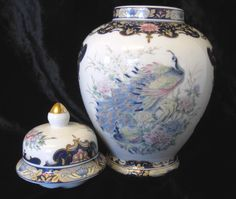 "Vintage Japanese Porcelain Peacock Ginger Jar, 8.5"" by TheWhistlingMan on Etsy SOLD"