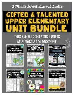 Gifted and Talented: Upper  Elementary Units Bundle! This bundle contains 6 units for upper elementary grades gifted and talented classes! It can be used with a whole class or as enrichment for gifted students or early finishers.