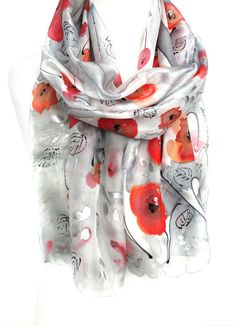 Poppies Scarf. Red Scarf. Hand Painted Silk Shawl. Woman Scarf. Birthday Gift for Her. Silk Scarf. Genuine Art