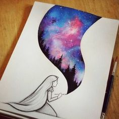 Beautiful Drawing And Blue Image Diy Pinterest Art Art