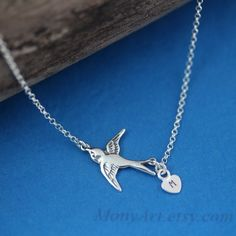 Monogrammed Bird Necklace . Sterling Silver Flying bird by MonyArt, $26.80