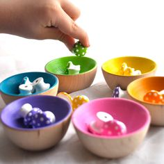 Montessori Toy - The ORIGINAL Rainbow Sorting Mushrooms, Educational Wooden Toy / Waldorf via Etsy. Beck would enjoy these! Educational Toys For Kids, Learning Toys, Craft Activities For Kids, Infant Activities, Montessori Toys, Montessori Color, Montessori Toddler, Diy For Kids, Crafts For Kids