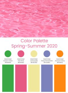 The key color palette takes on a tougher direction for the season, as sharper greens and denser red tones come into play Summer Color Palettes, Spring Color Palette, Spring Colors, Color Combos, Color Schemes, Color Trends 2018, Cute Summer Nails, Pantone 2020, Find Color