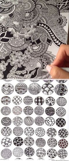 Drawing Ideas Mandalas Zentangle Patterns Ideas For 2019 Easy Disney Drawings, Easy Doodles Drawings, Zentangle Drawings, Art Drawings, Doodles Zentangles, Pencil Drawings, Drawing Art, Drawing Sketches, Doodle Patterns
