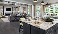 The convenient center island in this lavish Aldie, VA, kitchen overlooks an adjacent great room and sunroom Richmond Homes, Richmond American Homes, Log Home Kitchens, Grey Kitchens, New Kitchen Designs, Kitchen Ideas, Kitchen Decor, Kitchen Colors, American Home Design