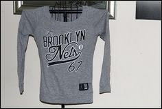 Womens long sleeve t shirt NBA4Her BROOKLYN NETS 67 grey size small #NBA4Her #EmbellishedTee