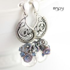 Steel Magnolias - Wire wrapped earrings with rich cascades of keishi pearls, quartz briolettes and rondelles and kyanite.