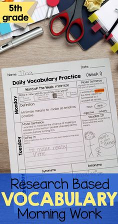 Vocabulary morning work will be perfect for my 5th grade class this year. We always struggle to find enough time to build vocabulary and still cover all the material. This will save me a TON of time because the kids can do it for those 15 minutes during announcements. Love that it is based on Marzano's work with vocabulary instruction.