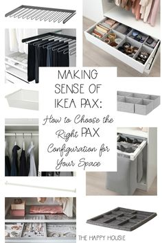 Making Sense of Ikea PAX: How to Choose the Right PAX Configuration for Your Closet Space Ikea Closet Hack, Ikea Closet Organizer, Ikea Pax Wardrobe, Ikea Pax Hack, Ikea Hacks, Ikea Closet System, Closet Redo, Wardrobe Closet, Hacks Diy