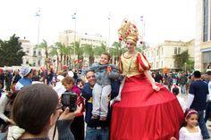Fotoverslag van het Poerim 2014 feest door Alfred Mullier journalist in Jeruzalem, Israel.