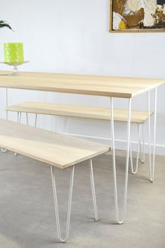 Ash Dining Table or Desk on Hairpin Legs by FrancesBradleyDesign