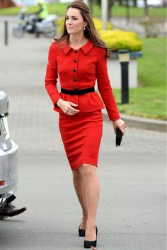 Kate Middleton Reworks A Red Suit For Her Royal Tour