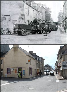 The crossroads at Sainte-Mere-Eglise, Normandy – © Ian R Gumm, 2014 Then And Now Photos, Before And After Pictures, Normandy Ww2, D Day Landings, Sainte Marie, Powerful Images, Historical Pictures, Military History, World War Two