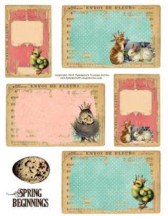 Ephemera's Vintage Garden: Free Printable - Spring Chick and Bunny Tags