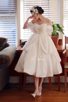 2 Piece Romantic Tea Length Satin Wedding Dress Perfect for Outdoor Wedding - Elizabeth 2016. Design by L'Amei AM19865080 by LAmei on Etsy https://www.etsy.com/listing/247191175/2-piece-romantic-tea-length-satin