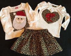 baby/toddler/Girls boutique Christmas Santa, Valentine's Cupid appliqued shirts and coordinating leopard print skirt- 3 piece set