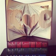 Book Art, Book sculpture Initial heart Initial by bridalbling on Handmade Australia, Folded Pages Book art, Name folded in book.