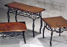 Hand Hammered Copper Coffee Table - Twig Base - Rectangular & Square Shown - Item #CT03112 - Also Available Round - Custom Sizes - Eco-Friendly Recycled Copper & Forged Iron