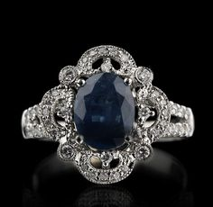14KT White Gold 2.22ct Sapphire and Diamond Ring, Engagement Ring, Filigree, M. Christoff. $2,400.00, via Etsy.