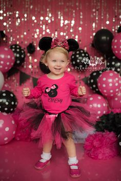 www.waterhousestudios.com, NC photographer, children's photography, children's studio photography, birthday session, cake smash session, Minnie Mouse themed, hot pink and black themed, second birthday photography