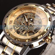 Steampunk Love Super Bargain!!! Mens Classic Transparent Steampunk Skeleton Mechanical Man Stainless Steel Watch