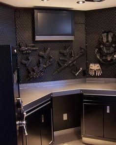 If we had to have guns, I'd like the inside of the gun vault to look like this. Gun Vault, Hidden Gun Storage, Weapon Storage, Decoracion Star Wars, Gun Rooms, By Any Means Necessary, Safe Room, Cool Guns, Guns And Ammo