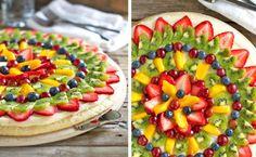 Pizza de frutas, una receta ideal para niños http://www.entrechiquitines.com/recetas/pizza-de-frutas-receta-ideal-para-ninos/