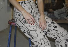 Hand painted pants by Camilla Engstrom