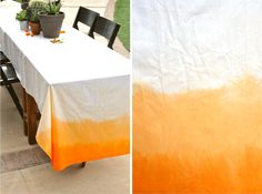 Dip dyed mid-orange tablecloth, love the double layer of color // A Fabulous Fete